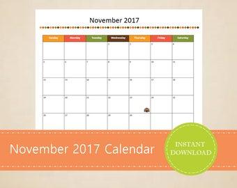 Printable November 2017 Calendar - Seasonal monthly calendar - Editable November Calendar - Thanksgiving Calendar - INSTANT PDF DOWNLOAD
