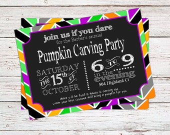 Pumpkin Carving Party, Pumpkin Painting Party or Halloween Party Invitation - Printable or Printed
