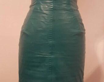 Vintage Michael Hoban Green Leather High Waist Mini Skirt