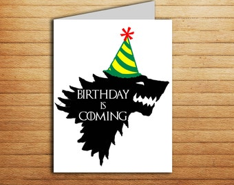 Game of Thrones Birthday card Printable Game of Thrones card for boyfriend Birthday is coming Stark Nameday Card Baby is Coming Direwolf