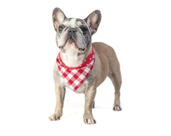 """Red duplex bandana for dogs - 30% of sales donated to dog shelters """"dog bow tie"""" symbol for animal support"""