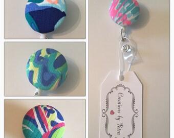 Lilly Pulitzer / Retractable Badge Holder - Id Badge Reel - Nurse Badge Holder - Teacher Lanyard - Badge Reel - Cute Flower Badge Holder
