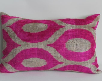 Pink Ikat Velvet Pillow -  13.5'' x 22''  Pink Pillow Accent Sofa Pillows Ikat Lumbar Pillow Cover Velvet Pillow Cover Pink Couch Pillow
