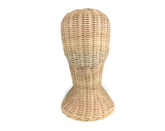 Mannequin Head Short Wicker Rattan Head Wig Stand Handcraft Antique Display Handmade