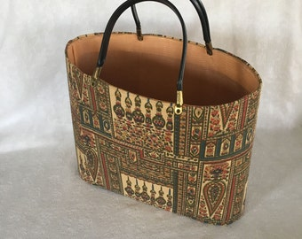Vintage Round Handled Retro Knitility Bag