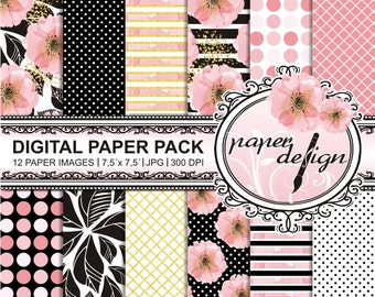 Watercolor flowers Planner background digital paper Pack 7.5-inch x 7.5-inch #18