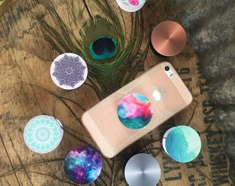 Pre-printed Popgrip, phone pop, pop holder (Mandala, Monogram, Galaxy or Customize) iphone & Android