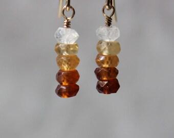 Hessonite Earrings, Dainty Gemstone Earrings, Stick Earrings, Minimalist Short Earrings, Gemstone Earrings, Gold Filled