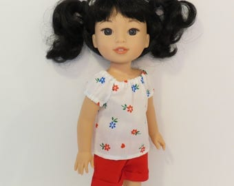 """14.5"""" Doll Clothes - Flowered Peasant Top and Cuffed Shorts - To fit Wellie Wishers™ and Hearts for Hearts®"""