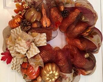 Beautfiul fall wreath, thanksgiving wreath, harvest wreath, thanksgiving decor, fall wreath