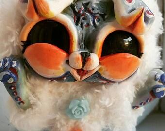 Chukcha - the happy cat in his fur coat, art doll, available