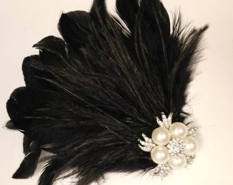 Gatsby fascinator 1920s wedding fascinator Bridal feather fascinator Feather and Sparkly Jewel fascinator.