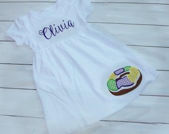 King Cake Mardi Gras Dress - Girls Mardi Gras Dress - Personalized Mardi Gras Dress - Toddler Mardi Gras Dress - Mardi Gras Outfit - Dress