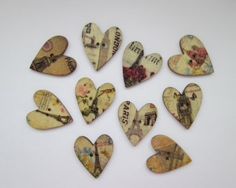 Heart 10 wooden buttons 25 x 29 mm