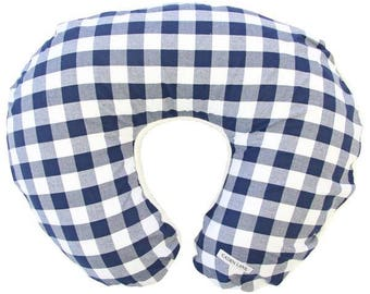 Brett's Gingham | Navy and White Plaid Nursing Pillow Cover