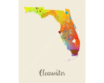 Clearwater Florida Clearwater Map Clearwater Print Clearwater Poster Clearwater Art Clearwater Gift Clearwater Wall Decor