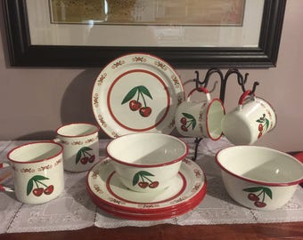 Vintage enamelware cherries dish set