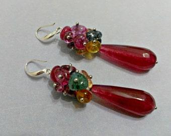 Long earrings, burgundy earrings, teardrop earrings