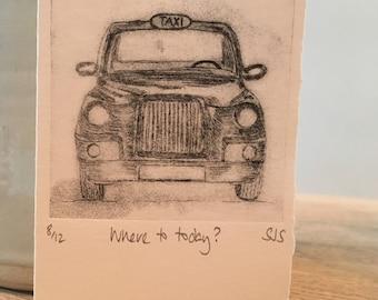 Hand Printed Taxi Card, Handmade Taxi Card, Taxi, Single Printed Taxi Card, Individual Card, Taxi Card, Cab, London Cab, Black cab