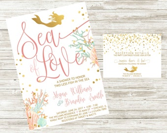 Mermaid Bridal Shower Invite & Detail Card