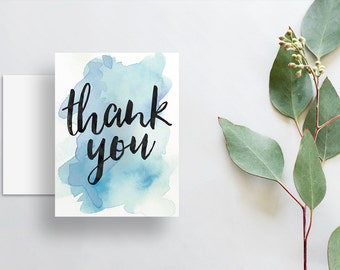 instant download watercolor splash thank you cards // bright blue watercolor // hand lettering // printable digital files thank you notes