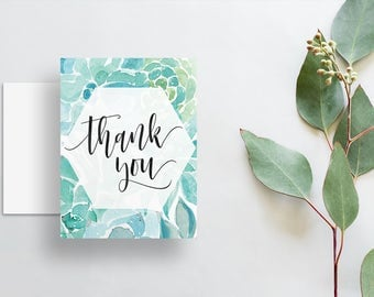blue green aqua succulent watercolor thank you cards // folded thank you notes // brush lettering calligraphy // PRINTED cards // custom