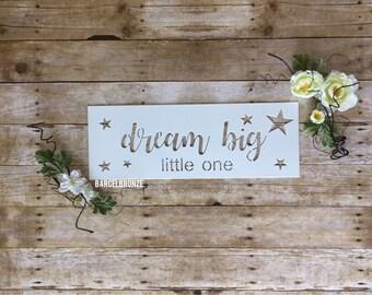 Dream Big Little One, Gender Neutral Nursery Decor, Boho Nursery Wall Art, Baby Signs For Nursery, Dream Big Sign, New Baby Gift