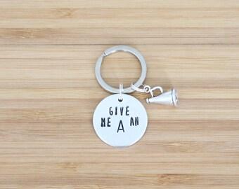hand stamped keychain | cheerleading custom