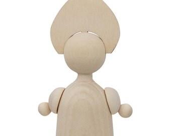 "4.5"" Blank Unfinished Russian Girl Wooden Doll- SKU # TS01L1"