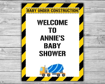 Custom - Construction - Baby Shower - Welcome - Sign - PRINTABLE - Baby Under Construction Sign - 053