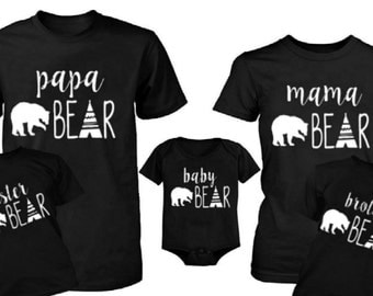 Family Bear Shirts ,Mama Bear Shirt, Papa Bear Shirt ,Baby Bear Onesie ,Family Matching Shirts , New Mom and Dad Shirt