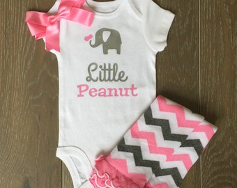 Little Peanut Onesie - Elephant Bodysuit- Gift for Newborn - Baby Shower Gift - Baby Gift Idea - Baby Boy - Baby Girl - Pink and Grey