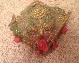 Vintage paper mache faux jewel box