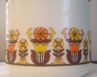 Vintage Enamel Canister - Orange & Yellow Daisy/Tulip Pattern - Orange Lid
