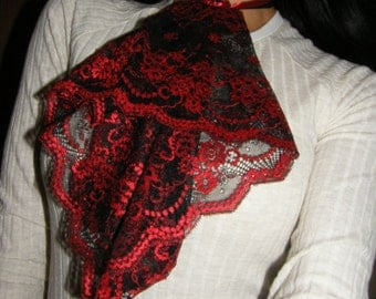 Black and Red lace jabot collar