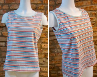 Vintage Tank Top • 90s Tank Top • Rainbow Striped Tank Top • Medium Pastel Rainbow Tank Top • Pink Pastel Striped Shirt • Festival Tank Top