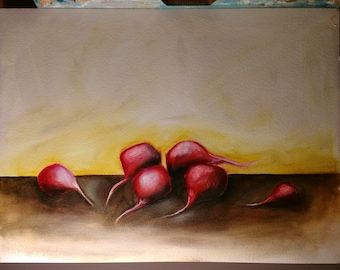 Oil Painting - Radishes - 9x12