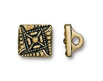 Bead Jewelry Clasp - 3 - TierraCast Czech Square Metal Button with Shank