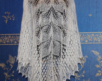 White wedding shawl Boho Mohair triangle lace shawl bridesmaids shawl gift for her Made to order Hand knitting