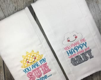Burp Cloth, Appliqué Baby Gift, You are my Sunshine Burp Cloth, Cute Burp Cloth, Baby Shower Gift, Cute Baby Gift, New Mom Gift, New Baby