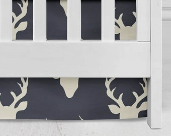 Woodland  Navy antlers Crib Skirt, Baby Bedding, Bucks, antlers,boy crib, Baby Crib Skirt, deer Bedding, hunter, forest , off white & navy