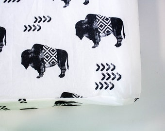 Buffalo Changing Pad Cover, Buffalo Print, Woodland, Tribal, Changing Pad Cover, Diaper Changing Pad, Black and White, Aztec, Changing pad