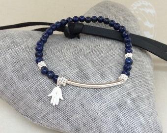 Hamsa bracelet, yoga bracelet, lapis lazuli beads, lapis lazuli bracelet, stacking bracelet