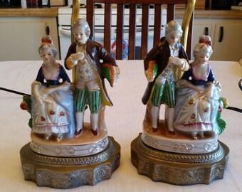 2 Antique Figural Table Lamps Set Porcelain / Metal 1940u0027s   Man U0026 Woman  Romantic Couple