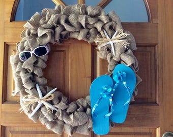 Burlap Wreath-Blue Flip Flops-Starfish-Sunglasses-Beach Wreath-Coastal Wreath-Lake Wreath-Tropical Wreath-Nautical-Flip Flops