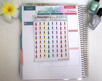 Mini Nail polish manicure planner stickers
