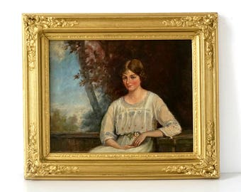 Edwardian Lady in Country House Garden - Original Oil Painting - Antique Portrait - Original Ornate Gold Frame - Antique Oil Painting