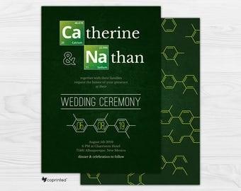 Breaking Bad Theme Wedding Invitation, Breaking Bad Movie Theme, Movie Themed Invitation, Chemistry Wedding Invitation, Science Wedding Card