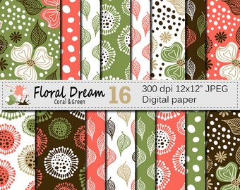 "Seamless Floral Coral and Green Digital Paper ""Floral Dream"", Hand Drawn Flowers Seamless Pattern, Printable Scrapbook Paper"
