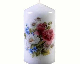 Summer Flowers - Scented  Floral Bouquet Pillar Candle